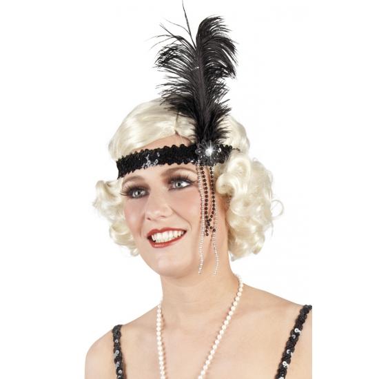 Pailletten hoofdband zwart met veer