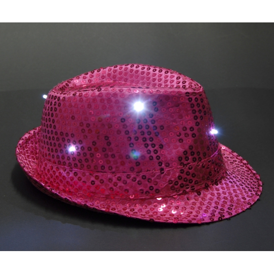 Pailletten trilby hoed roze LED light