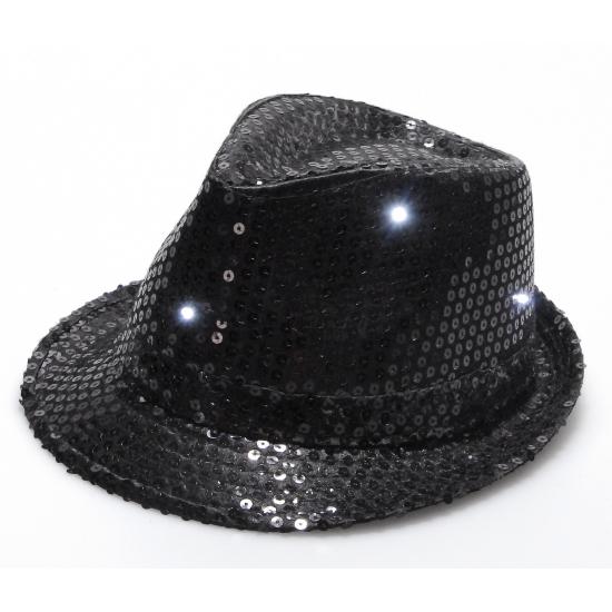 Pailletten trilby hoed zwart LED light