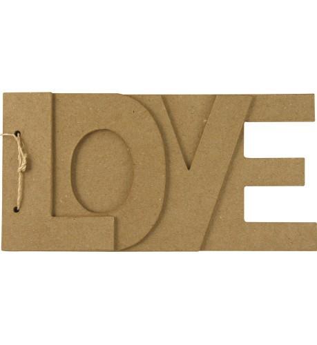 Papier mache boekje met LOVE tekst