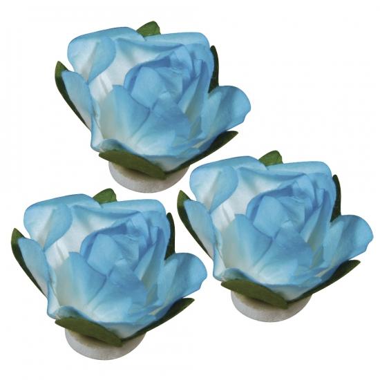 Papieren deco bloemen turquoise 1 5 cm