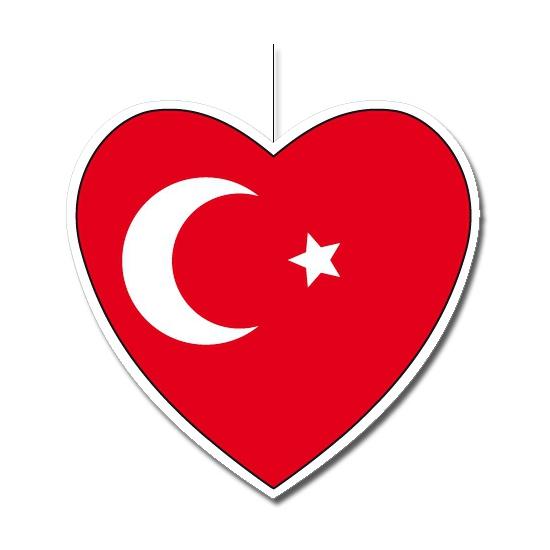 Papieren decoratie hart Turkije 30 cm