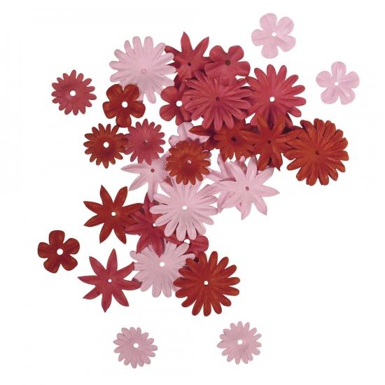 Papieren hobby bloemen rood roze 36 stuks