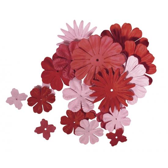 Papieren hobby bloemen rood roze