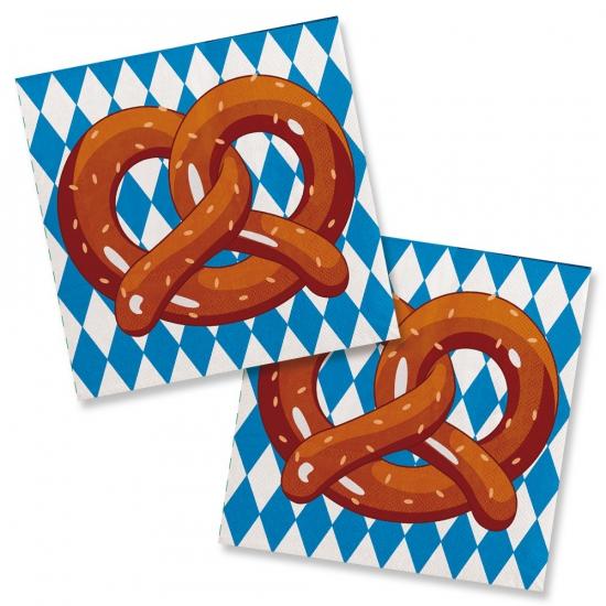 Papieren Oktoberfest servetten met pretzel afbeelding 20 stuks