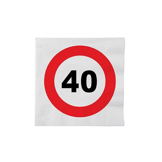 Papieren stopbord servetten 40 jaar