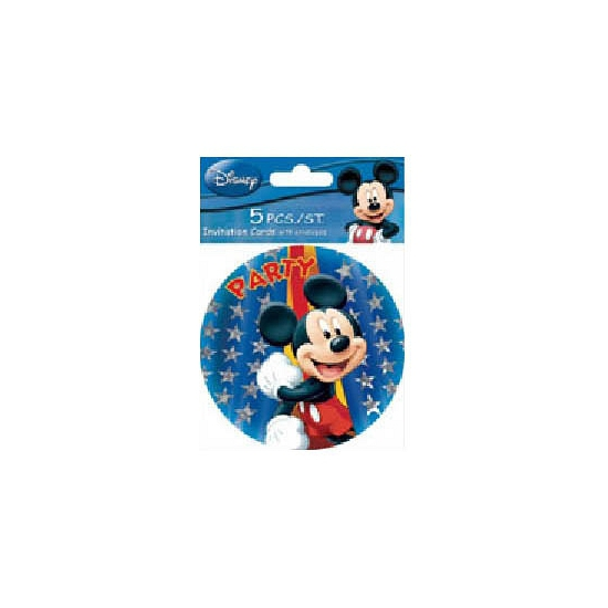Partijtje ronde uitnodigingen Mickey 5 stuks