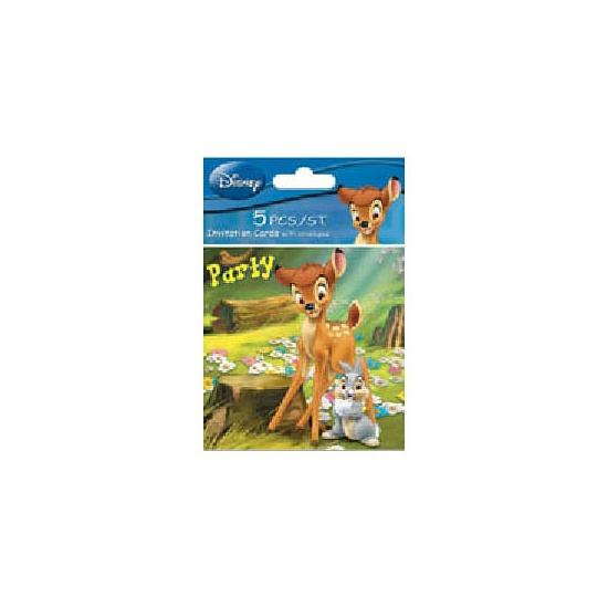 Partijtje uitnodigingen Bambi 5 stuks