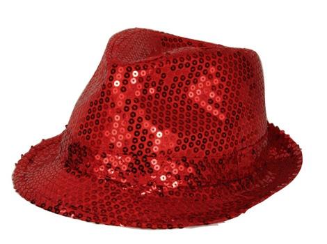 Party hoedje met rode pailletten