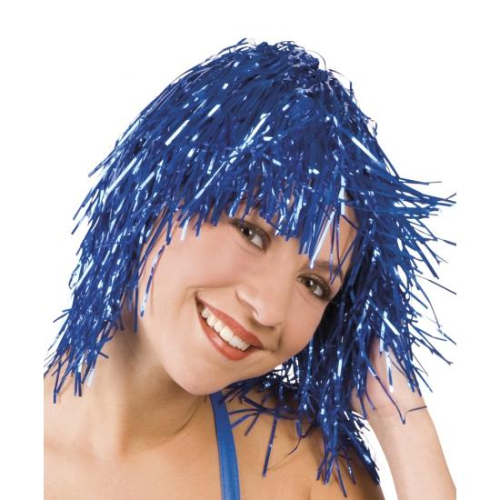 Party pruik blauw lurex