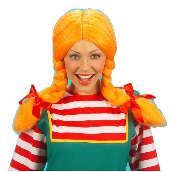 Party pruik Pippi met oranje vlechten