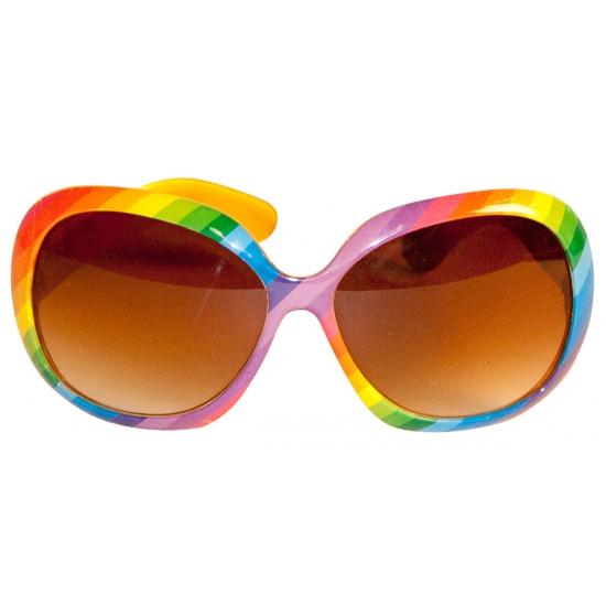 Party zonnebril in regenboog kleuren