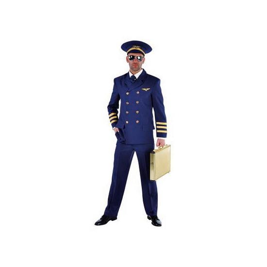 Piloten kostuum heren blauw