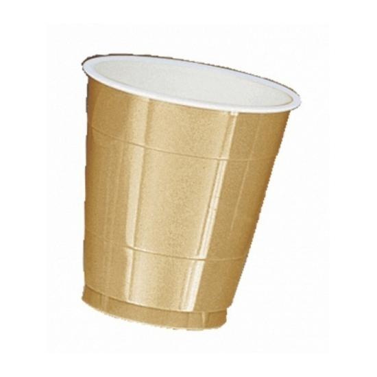 Plastic bekertjes goud 355 ml