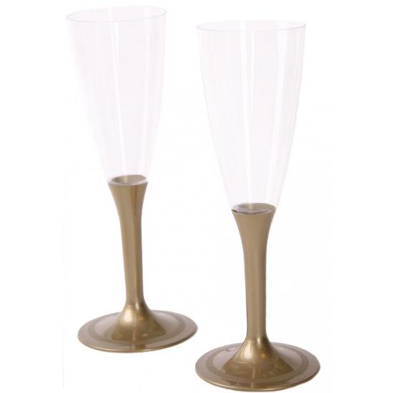 Plastic champagne glazen in goud