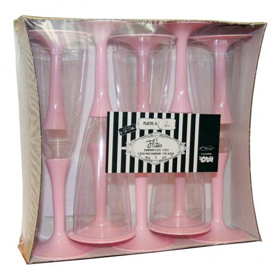 Plastic champagne glazen in lichtroze