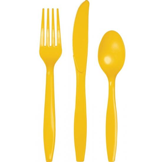 Plastic feest bestek geel