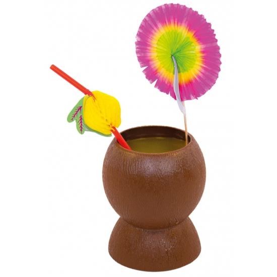 Plastic kokosnoot beker bruin