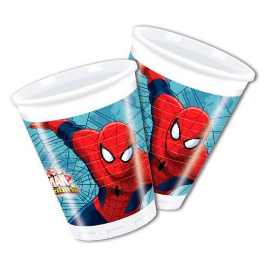 Plastic Spiderman feestbekers 8 stuks