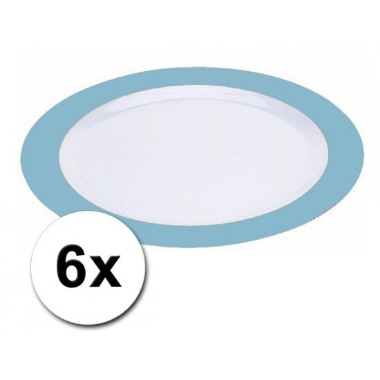 Platte blauwe borden onbreekbaar 6 stuks