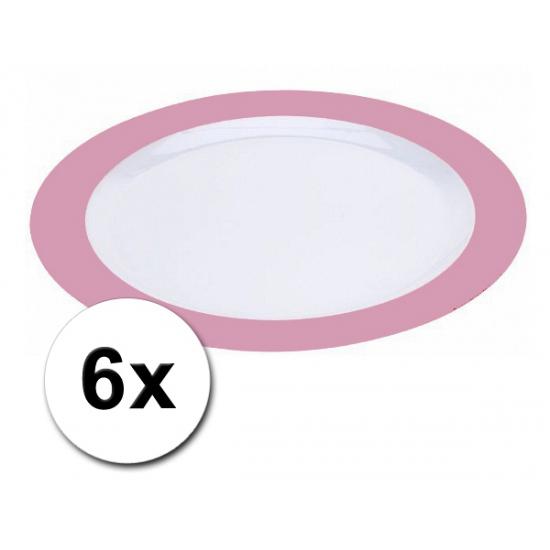 Platte roze borden onbreekbaar 6 stuks
