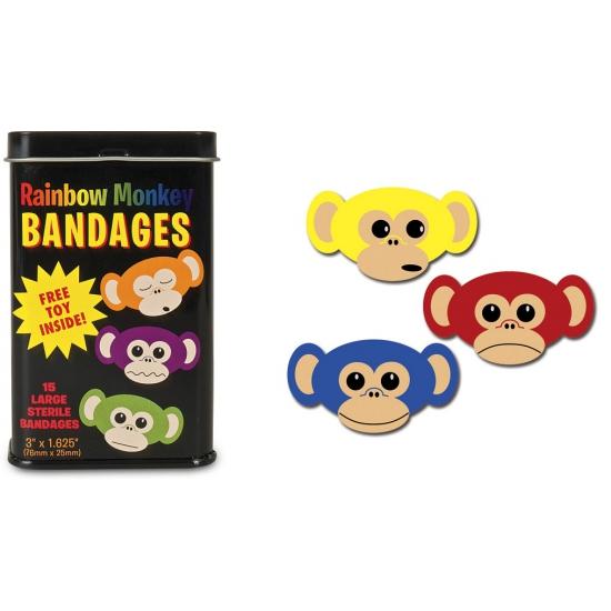 Pleisters in de vorm van gekleurde aapjes