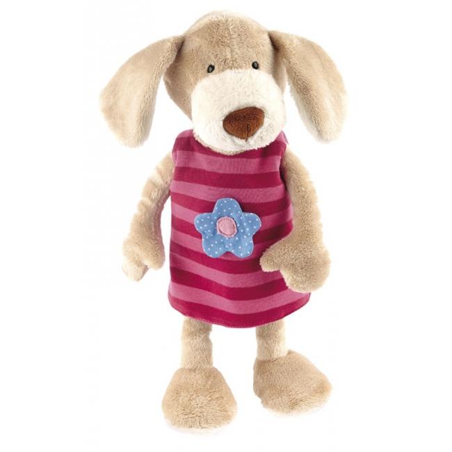 Pluche knuffel hond met roze jurkje 40 cm