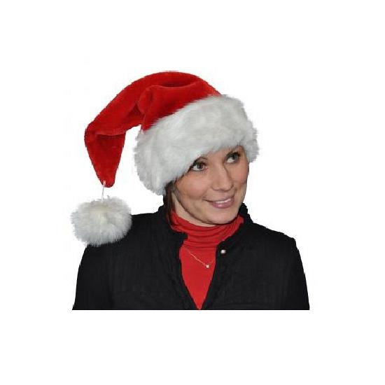 Pluche luxe kerstmuts met grote pompom