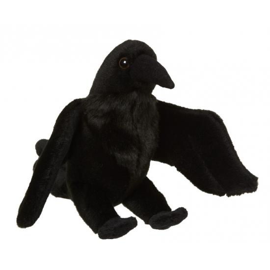 Pluche zwarte raaf knuffel 18 cm