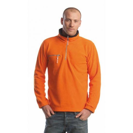 Polar oranje met zwarte fleece trui voor volwassenen