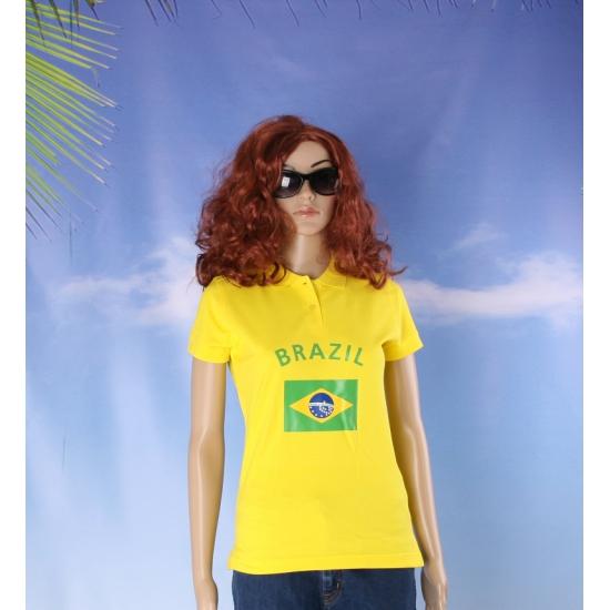 Polo met Brazil vlag print