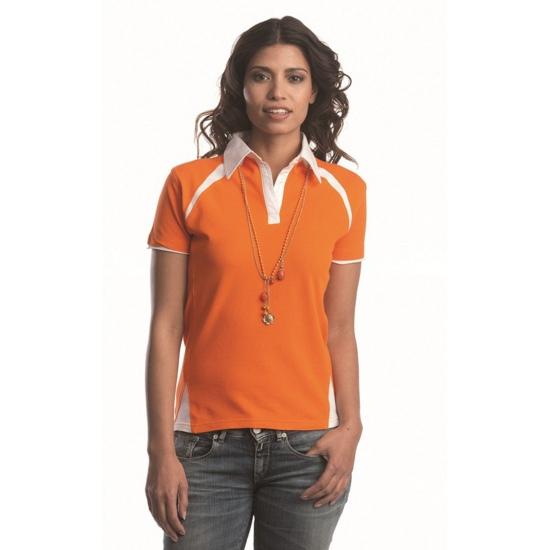Poloshirt voor dames oranje met wit