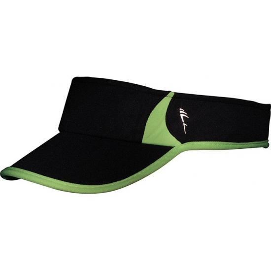 Polyester zonneklep zwart met groen