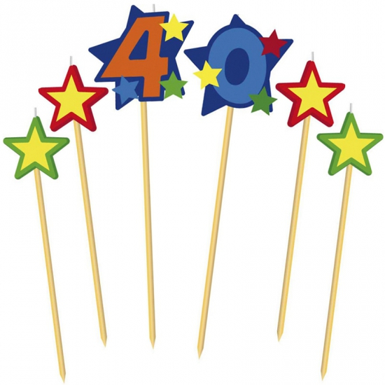 Prikker kaarsje cijfer 40
