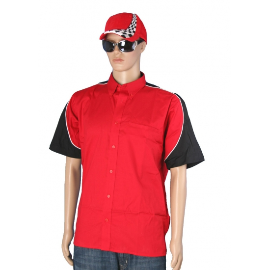 Race shirt rood met race cap maat XL