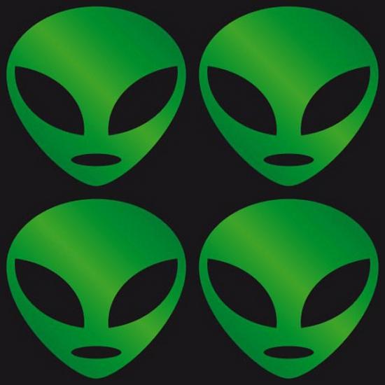 Reflecterende Alien stickers groen