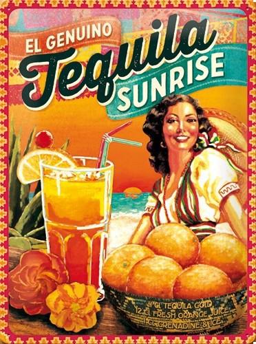 Retro muurplaat Tequila Sunrise 30 x 40 cm