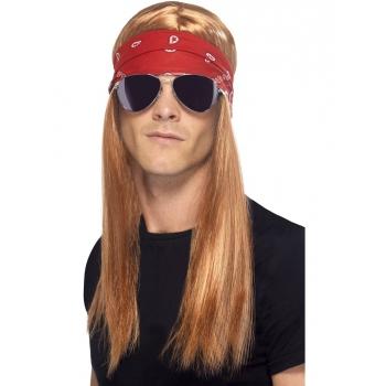 Rocker pruik  bril en bandana