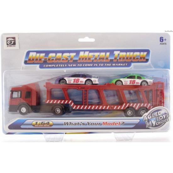 Rode auto transporter met 2 autos
