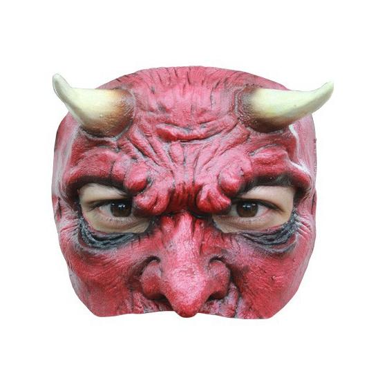 Rode duivel masker half gezicht