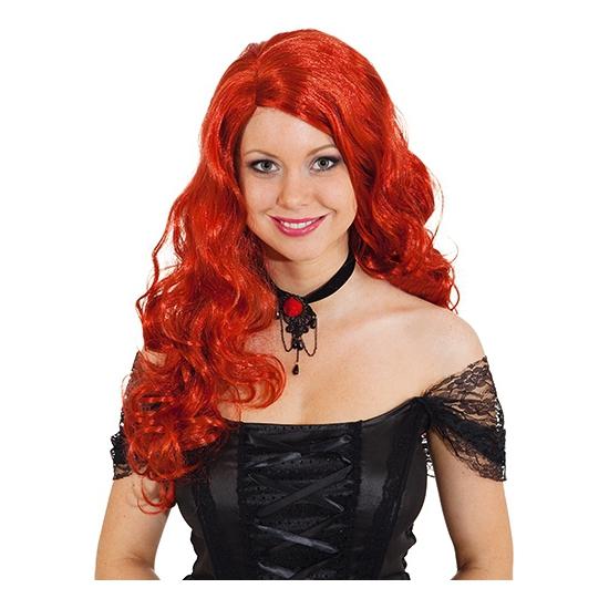 Rode gothic pruik voor dames