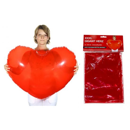 Rode opblaasbare harten 100 cm