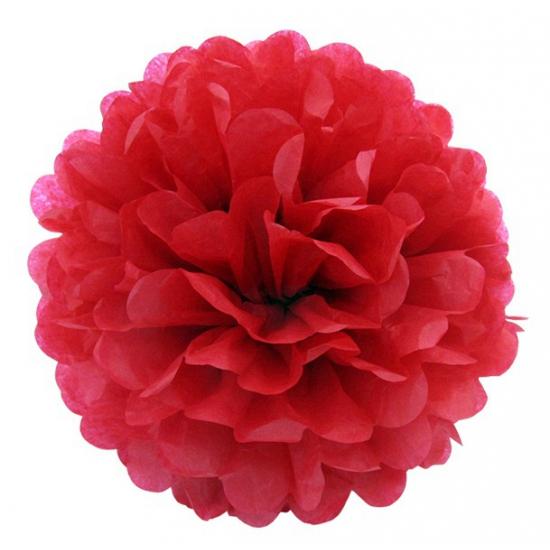 Rode pompom versiering 25 cm