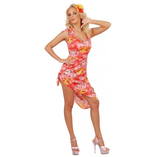 Rode tropische thema kleding voor dames