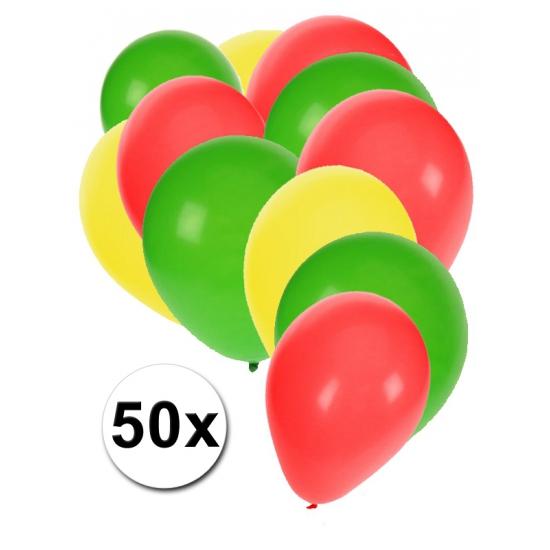 Rood/geel/groen carnavals ballonnen
