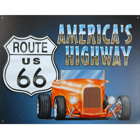 Route 66 US met muscle car decoratie muurplaat