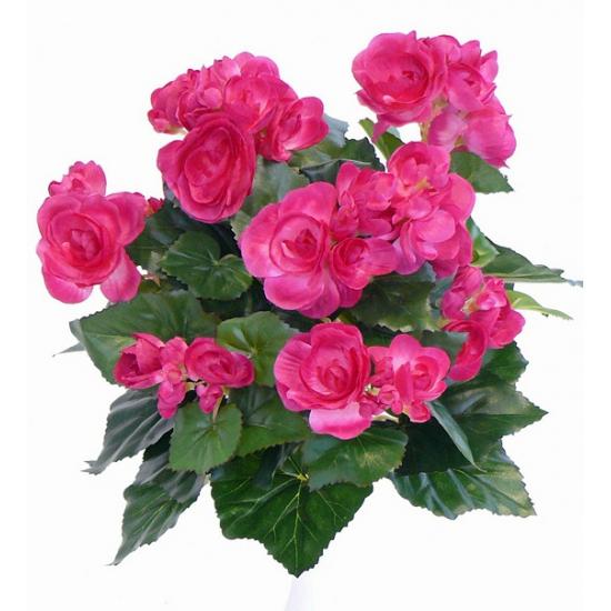 Roze Begonia kunstbloem 30 cm