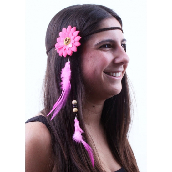 Roze hoofdbandje met bloem en veren