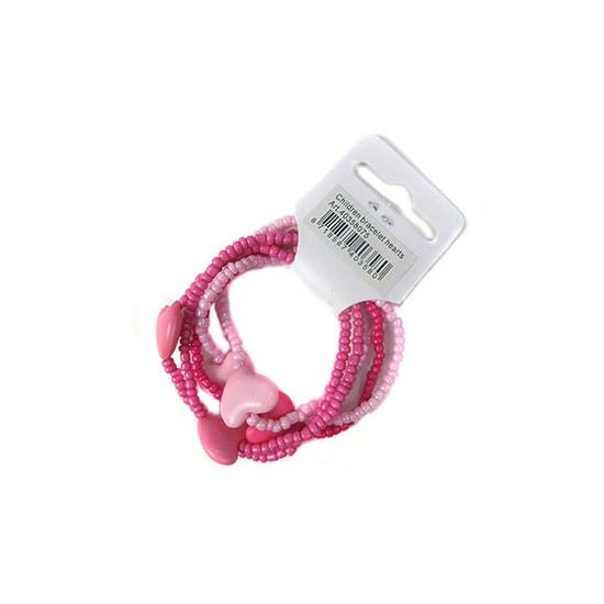 Roze kralen armband met hartjes