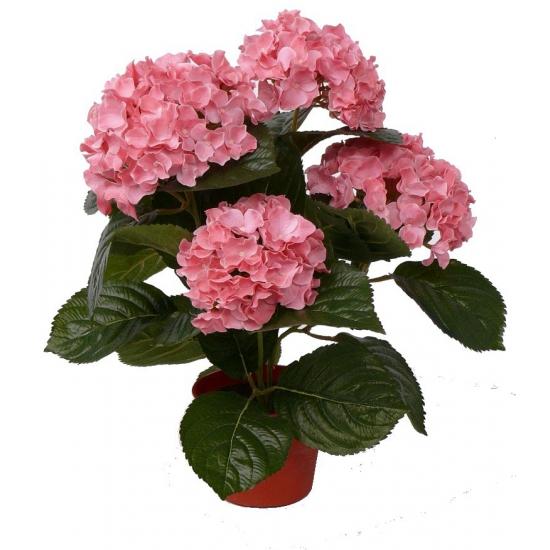 Roze namaak hortensia in pot 36 cm